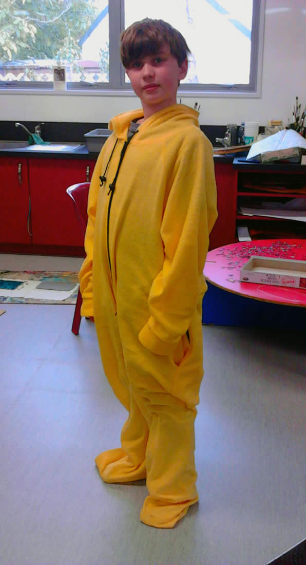 Stylin' in the yellow onesie...